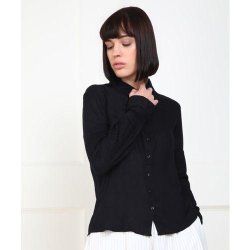 Provogue Women Solid Casual Black Shirt