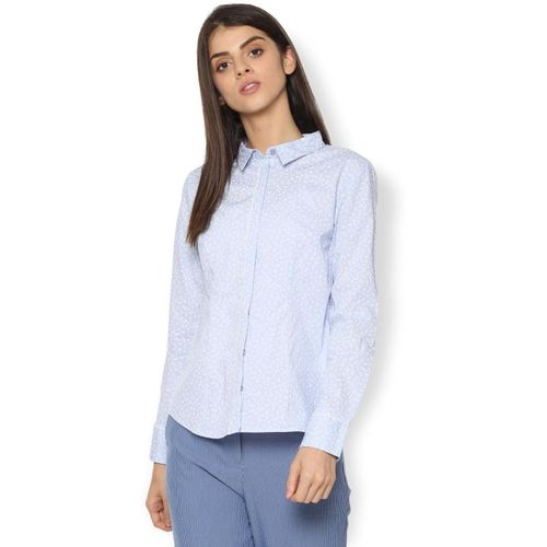 Van Heusen Women Printed Formal Blue Shirt