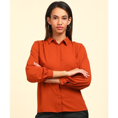 Van Heusen Women Solid Formal Brown Shirt
