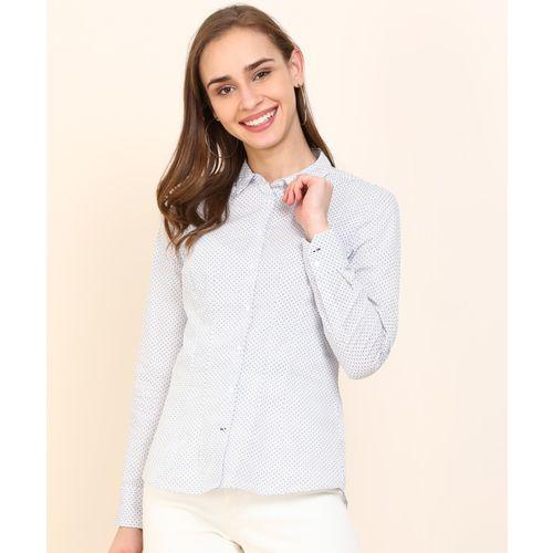 Van Heusen Women Printed Formal White, Blue Shirt