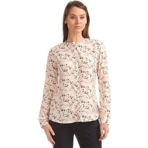 Arrow Women Printed Formal Pink Shirt