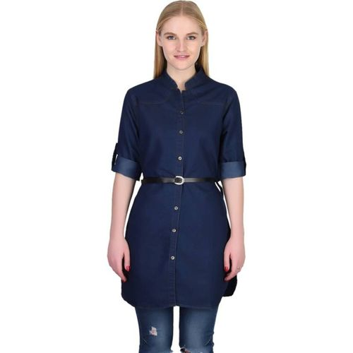 YASMIN CREATIONS Women Solid Formal Dark Blue Shirt