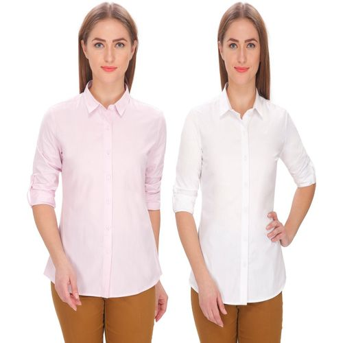 Leaf Women Solid Formal Pink, White Shirt(Pack of 2)