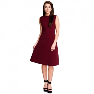 Addyvero Maroon Cotton  Fit and Flare Dress
