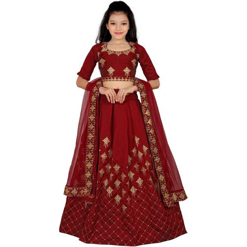 Varni Creation Girls Lehenga Choli Western Wear Embroidered Lehenga, Choli and Dupatta Set(Maroon, Pack of 1)
