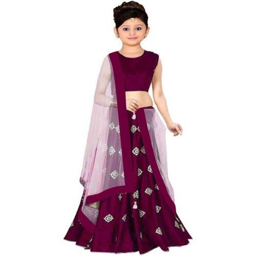 NavyaShree Fashion Girls Lehenga Choli Fusion Wear, Western Wear, Ethnic Wear, Party Wear Embroidered Lehenga, Choli and Dupatta Set(Multicolor, Pack of 1)