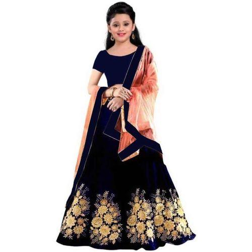 LEO ENTERPRISE Girls Lehenga Choli Fusion Wear, Western Wear, Ethnic Wear, Party Wear Embroidered Lehenga Choli(Dark Blue, Pack of 1)