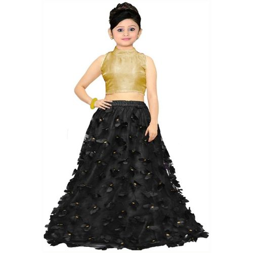 Mahi Creation Baby Girls Lehenga Choli Ethnic Wear, Party Wear, Western Wear Self Design Lehenga & Crop Top(Black, Pack of 1)