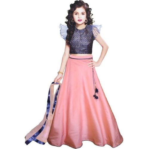 alakhdhanifashion Girls Lehenga Choli Fusion Wear, Western Wear, Party Wear, Ethnic Wear Self Design Lehenga, Choli and Dupatta Set(Pink, Pack of 1)
