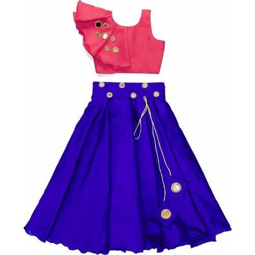VidiRna Indi Girls Lehenga Choli Western Wear, Party Wear Applique Lehenga & Crop Top(Pink, Pack of 1)