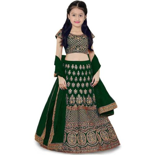 Kathiyawad Shopping Girls Lehenga Choli Fusion Wear, Western Wear, Ethnic Wear, Party Wear Embroidered Lehenga, Choli and Dupatta Set(Green, Pack of 1)