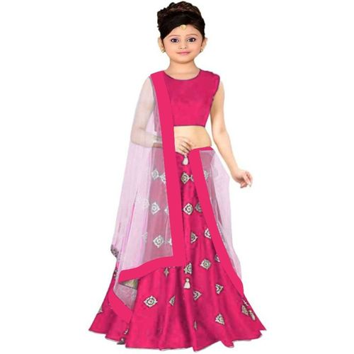 VidiRna Indi Girls Lehenga Choli Western Wear Solid Lehenga, Choli and Dupatta Set(Multicolor, Pack of 1)