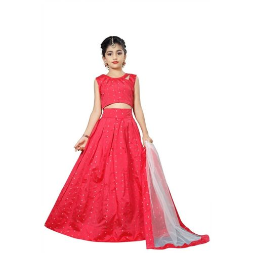 STRIPE Girls Lehenga Choli Party Wear, Western Wear, Ethnic Wear Solid Lehenga, Choli and Dupatta Set(Multicolor, Pack of 3)