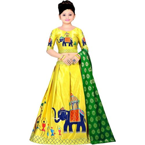Dharmi fashion Girls Lehenga Choli Western Wear, Ethnic Wear, Party Wear, Fusion Wear Printed Lehenga, Choli and Dupatta Set(Yellow, Pack of 1)