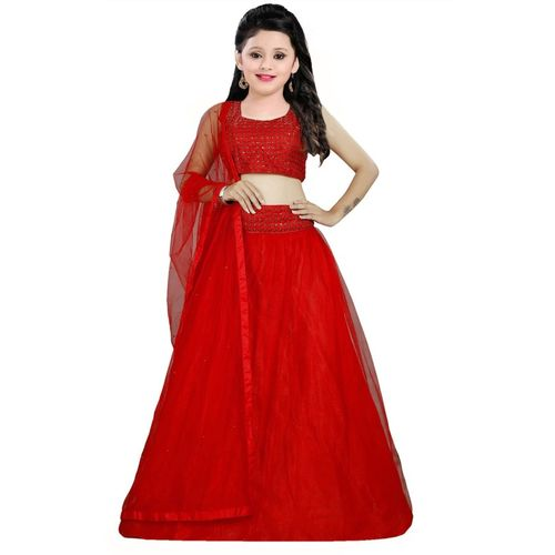 Vega 1 st Fashion Girls Lehenga Choli Western Wear Solid Lehenga, Choli and Dupatta Set(Multicolor, Pack of 1)