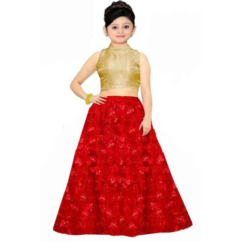 Vega 1 st Fashion Indi Girls Lehenga Choli Fusion Wear, Western Wear, Ethnic Wear, Party Wear Self Design Lehenga & Crop Top(Red, Pack of 1)