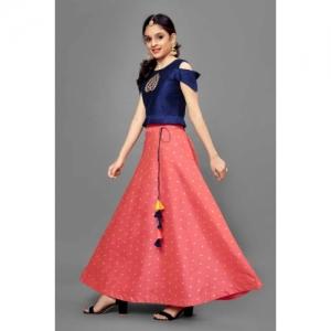 Fashion Dream Indi Girls Lehenga Choli Western Wear Embroidered Lehenga, Choli and Dupatta Set(Multicolor, Pack of 1)