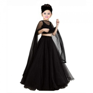 Vega 1 st Fashion Indi Girls Lehenga Choli Western Wear Solid Lehenga, Choli and Dupatta Set(Black, Pack of 1)