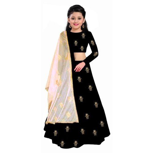 Vega 1 st Fashion Indi Girls Lehenga Choli Western Wear, Party Wear Embroidered Lehenga, Choli and Dupatta Set(Black, Pack of 1)