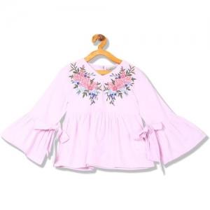 Cherokee Girls Casual Cotton Blend Peplum Top(Pink, Pack of 1)