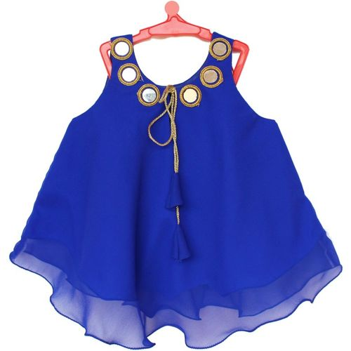 MVD Fashion Girls Party Poly Georgette A-line Top(Blue, Pack of 1)