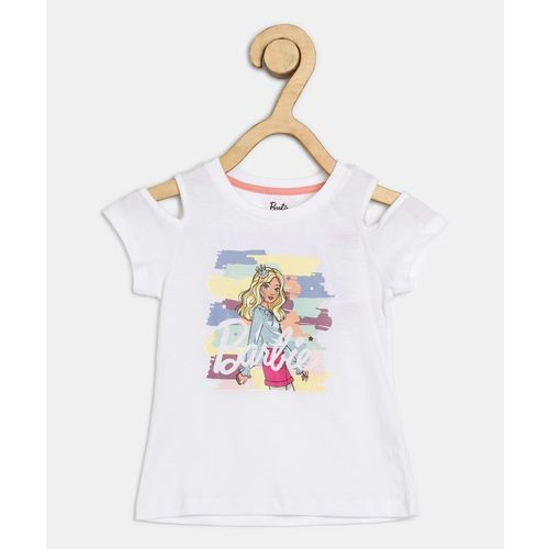 Barbie Girls Graphic Print Pure Cotton T Shirt(White, Pack of 1)