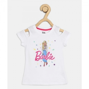 Barbie Girl's Graphic Print Cotton Blend T Shirt(White, Pack of 1)