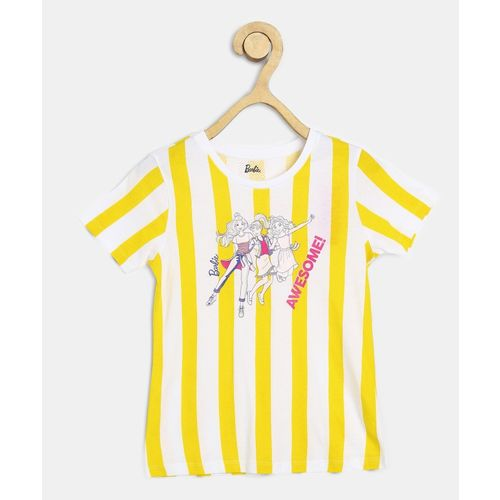 Barbie Girl's Striped Cotton Blend T Shirt(White, Pack of 1)