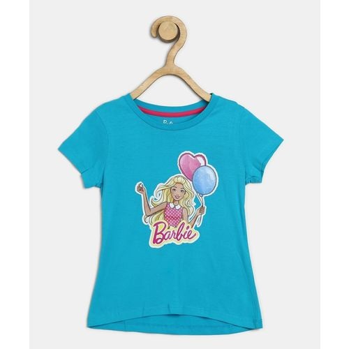 Barbie Girl's Graphic Print Cotton Blend T Shirt(Blue, Pack of 1)