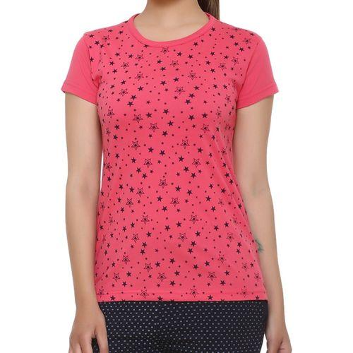 69GAL Girls Polka Print Cotton Blend T Shirt(Pink, Pack of 1)