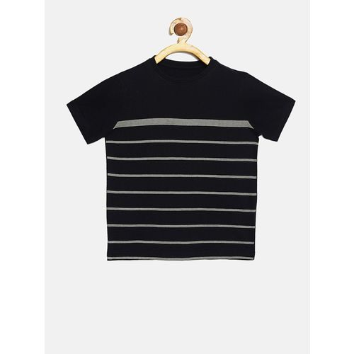 DILLINGER Boys & Girls Striped Pure Cotton T Shirt(Black, Pack of 1)