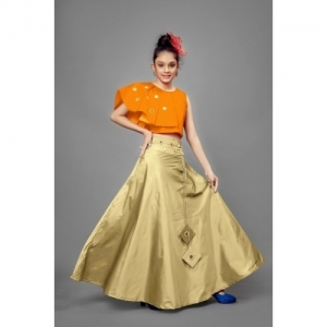 Fashion Dream Orange And Beige Silk Mirror Lehenga