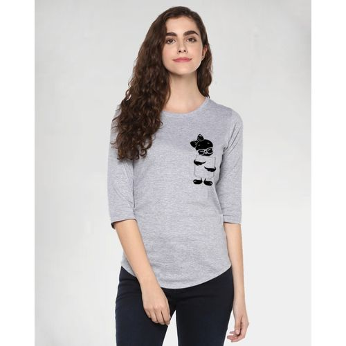 Young Trendz Abstract Women Round Neck Grey T-Shirt