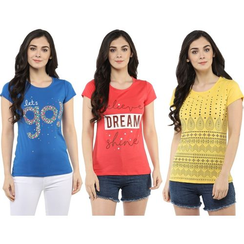 MODEVE Printed, Floral Print, Geometric Print, Abstract Women Round Neck Yellow, Blue, Pink T-Shirt(Pack of 3)