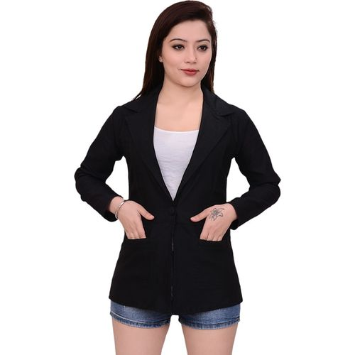 AAKRITHI Solid Single Breasted Formal Women Blazer(Black)