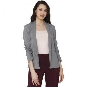 Vero Moda Solid Single Breasted Casual Women Blazer(Grey)
