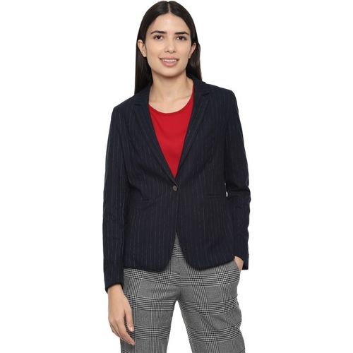 Van Heusen Striped Single Breasted Casual Women Blazer(Dark Blue)
