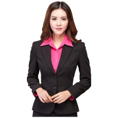 Procent Solid Single Breasted Formal Women Blazer(Black)