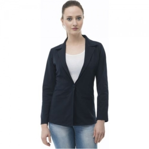AAKRITHI Solid Single Breasted Casual Women Blazer(Blue)