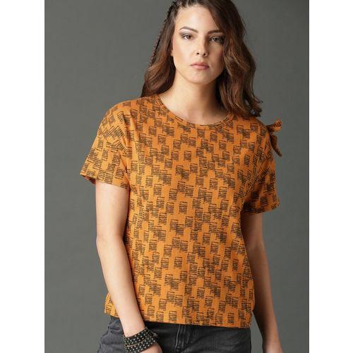 Roadster Printed Women Round Neck Brown, Yellow T-Shirt