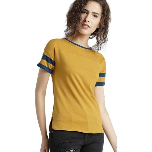 Roadster Solid Women Round Neck Yellow T-Shirt