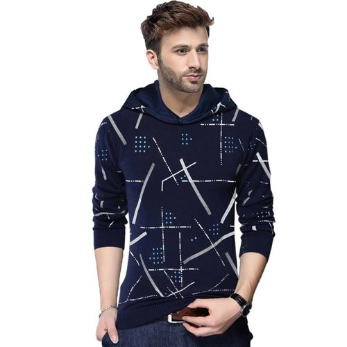 Tripr Abstract Dark Blue Cotton Hooded Neck T-Shirt