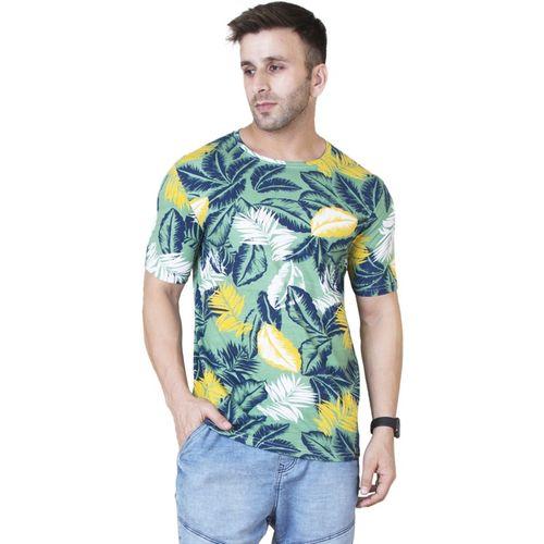Veirdo Floral Print Men Round or Crew Green T-Shirt