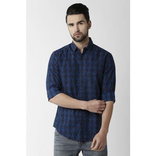 Peter England Men Printed Casual Dark Blue Shirt