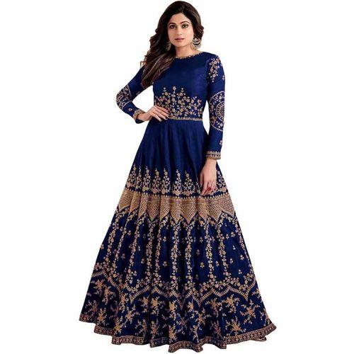 Siddeshwary Fab Women Maxi Dark Blue Dress