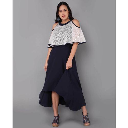 Fashion Ritmo Women High Low Blue Dress