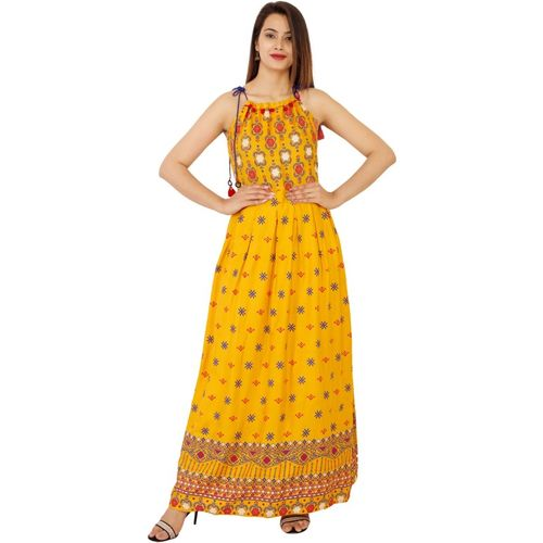 SEVEN WOWS Women Fit and Flare Yellow Kurta