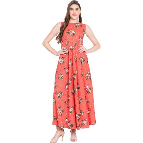 Rudraaksha Fit & Flare Pink Dress With Matching Mask