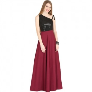 Raas Pret Women Fit and Flare Maroon, Black Dress