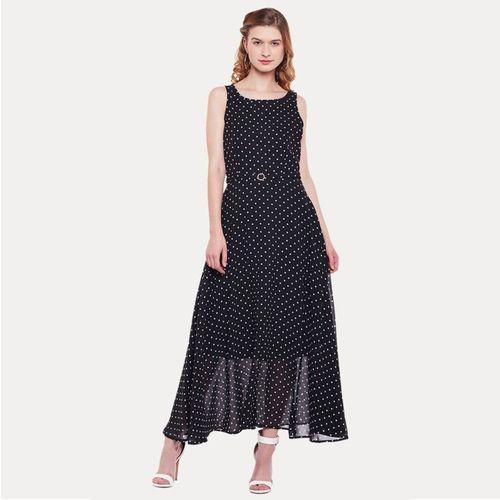 Peplum Black Georgette Belted Maxi Dress